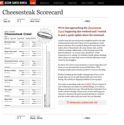 Cheesesteak Scorecard