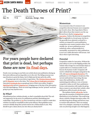 The Death Throes of Print?